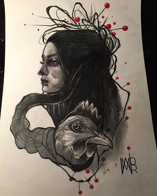 @momori_ink #youthinkitiinkit #femaletattooartist #tattoos #great #drawing #chicken #drawingoftheday #sketch #watercolor #painting #gossip #qttr