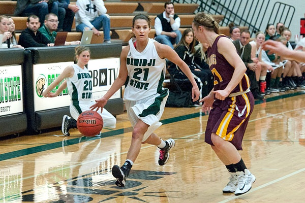 Shannon Thompson faces the Bulldog defense Friday (2/22/13) in an 85-56 loss NISC loss to Minnesota Duluth. CHeck out the entire photo gallery here: http://www.bsubeavers.com/wbasketball/photos/2012-13/371/