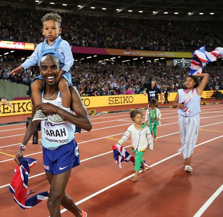 Mo Farah celebrating victory with his four children.
