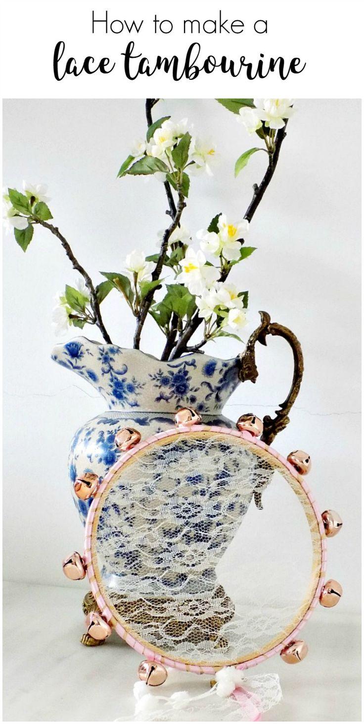 Ντέφι & ρομαντισμός - DIY tambourine with lace - Art Decoration and Crafting