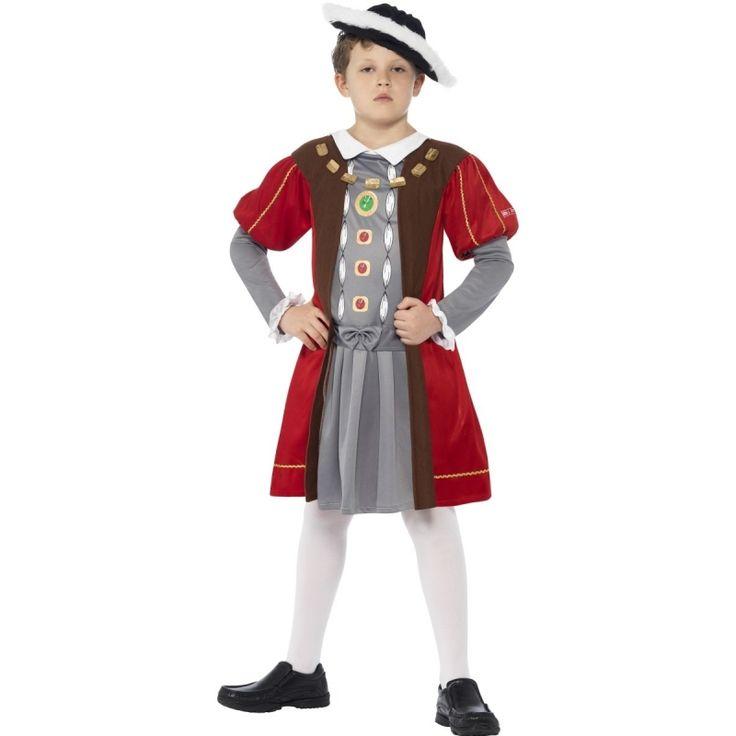 Engelse Henry de achtste kostuum voor jongens. Dit kostuum van de uiteindelijke koning van Ierland bestaat uit een tuniek en hoed.