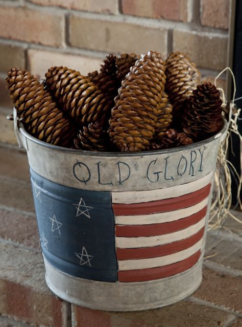 Old Glory Pail!~I Like the idea for a flower bucket full of red geraniums!