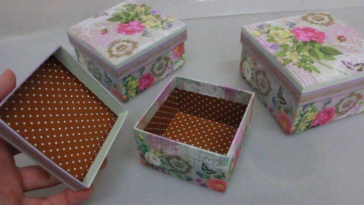 Набор подарочных коробок из 3шт  Квадрат бабочка Артикул 12975 5