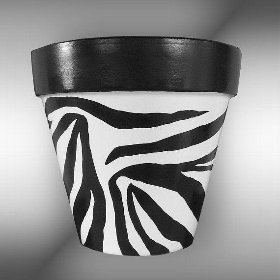 Zebra Print Hand Painted Flower Pot Original by DesignsByDesa, $32.00