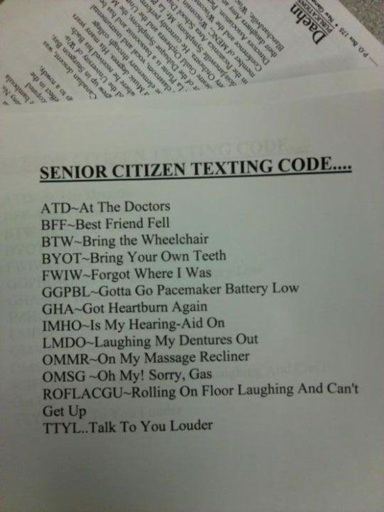 senior citizen texting codesOld Age, Funny Sayings, Senior Texts, Citizen Texts, Seniorcitizen, Funny Stuff, Humor, Senior Citizen, Texts Codes