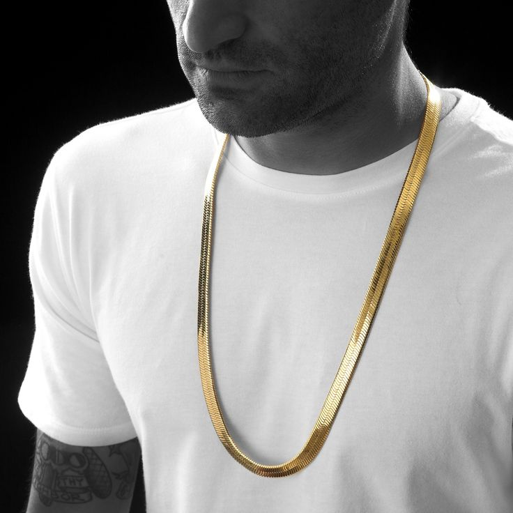 """Herringbone Chain Necklace: - Crafted from Brass - Length: 24"""" & 30"""" - Width: 10mm - High Polish 18k Gold PVD Plated Finish Inspired by Egyptian Pharaohs, this iconic chain is crafted from brass and P"""