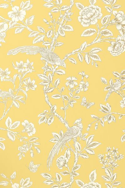 Soraya #wallpaper in #yellow from the Shangri-La collection. #Thibaut