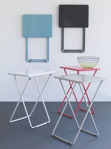 Airo Sea Blue Metal Folding Side Table Metal Folding
