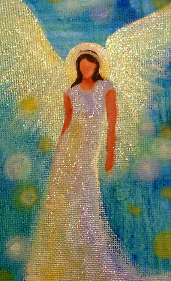 Original Acrylic ANGEL Painting Healing Energy by BrydenArt