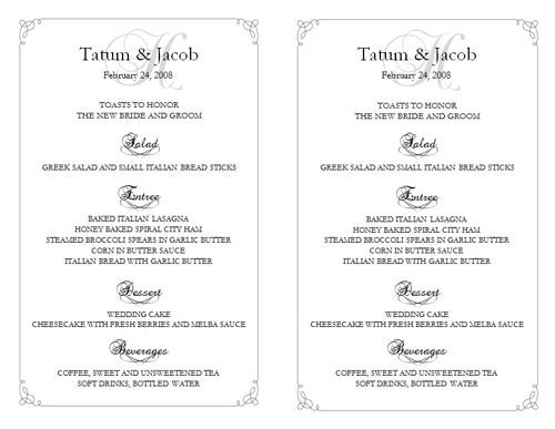 7 best Wedding menu template images on Pinterest Wedding menu