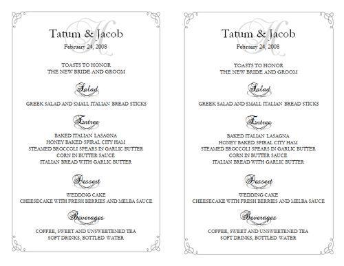 10 free wedding templates wedding reception menu
