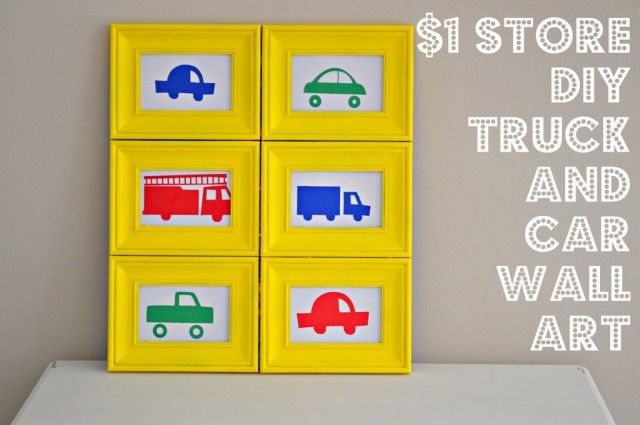 Dollar Store DIY Boys Room Wall Art - six frames, hot glue together, spray paint any color, any pictures you want:)