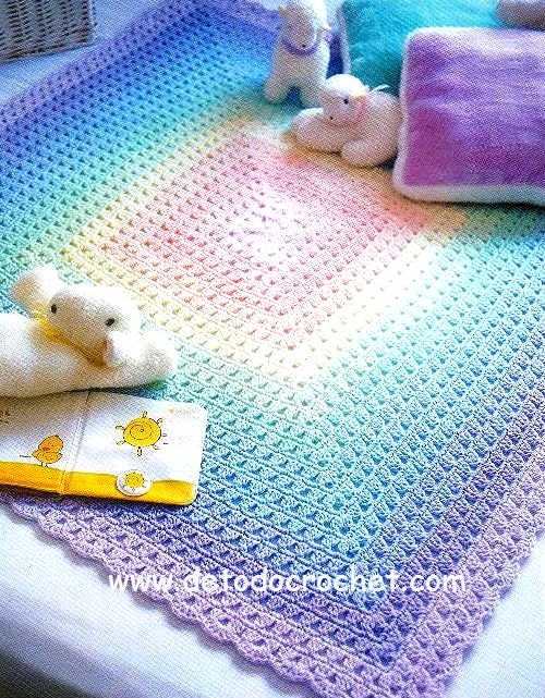 manta de bebe tejida al crochet