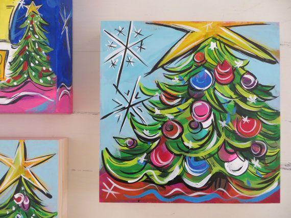 Christmas Tree Small Original Holiday Painting By StudioOnTheBlvd