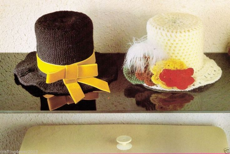 VINTAGE TOP HATS MATCHING WEDDING TOILET ROLL COVERS  KNITTING & CROCHET PATTERN