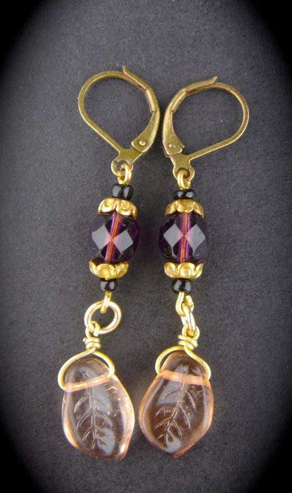 Vintage Czech Glass Earrings New Old Stock Dangle Pink Purple Gold Leverback #Unbranded #DropDangle