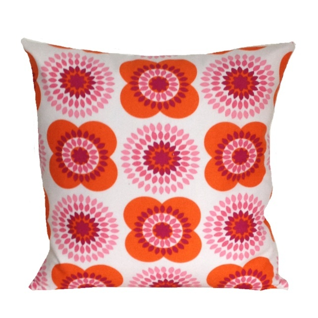 Retro Cushion Cover, Pink & Orange Flowers ... - Folksy