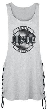 "AC/DC are cult heroes. The Australian legends have been showing the world since 1975 what it means to make hard, thrilling rock without compromise. This mottled grey top has the world famous lightening logo printed on the front from the band formed by the Young brothers. Simply stated around it is: ""High Voltage Rock'n'Roll"". The extremely wide cut string sides mean that it's perfect for hot, sweaty festivals."