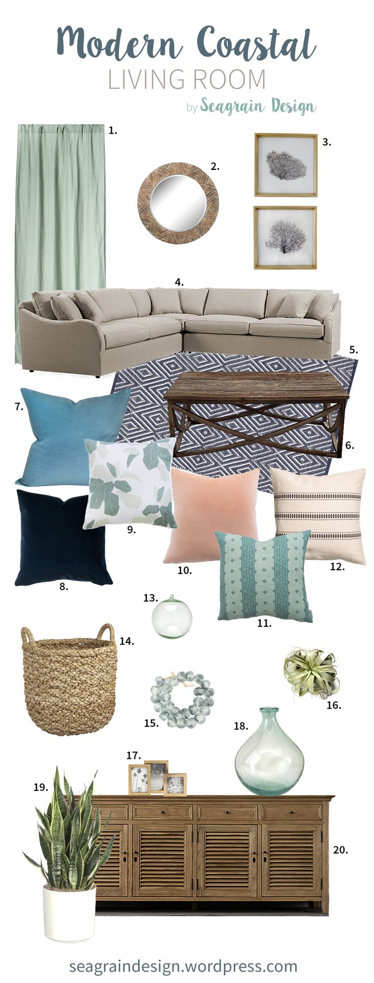 Modern Coastal Dream Living Room Mood Board by Seagrain Design