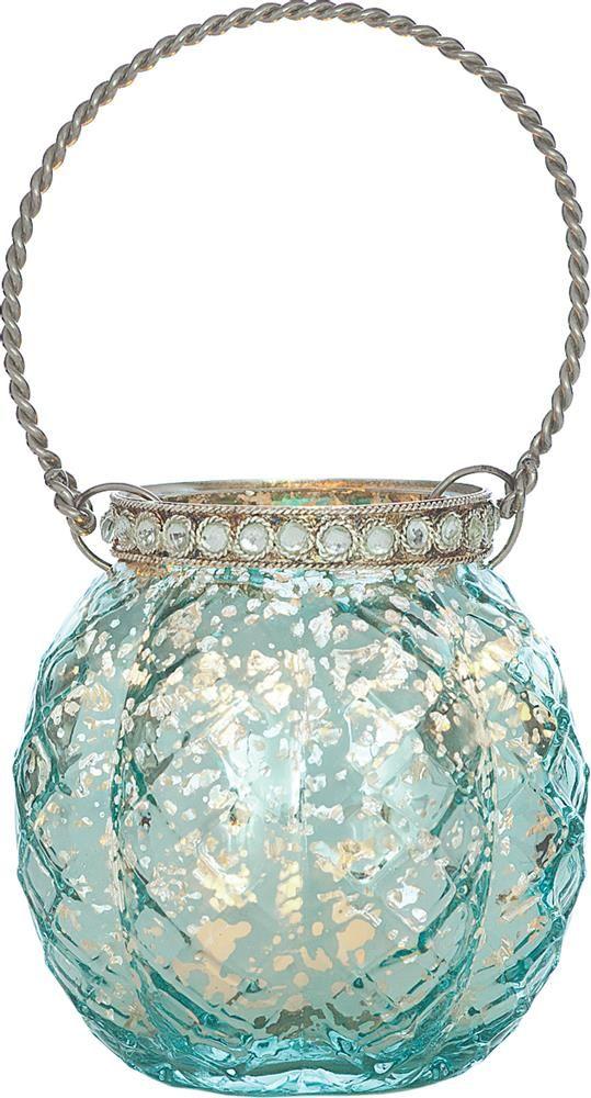Turquoise Blue Mercury Glass Hanging Candle Holder (with rhinestones) #V47TU