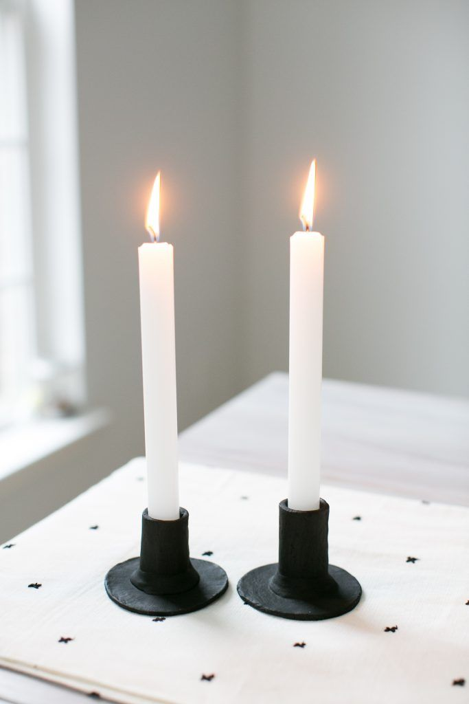 Make These Scandinavian Style Clay Candlesticks For Under 20 Clay Candle Holders Diy Clay Candle Holders Diy Candle Sticks