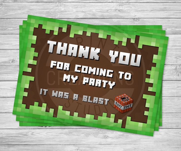 "These Minecraft Thank You Cards are designed with pixel style art with a ""Thank you for coming to my party"" message in a Minecraft style font."