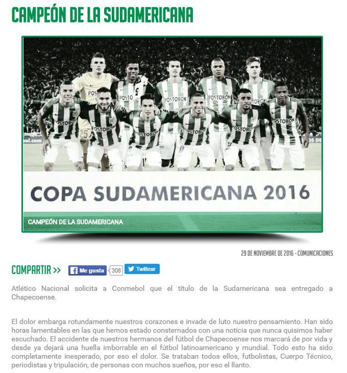 Atlético Nacional pede que o título  da Sul-Americana fique com a Chape #globoesporte