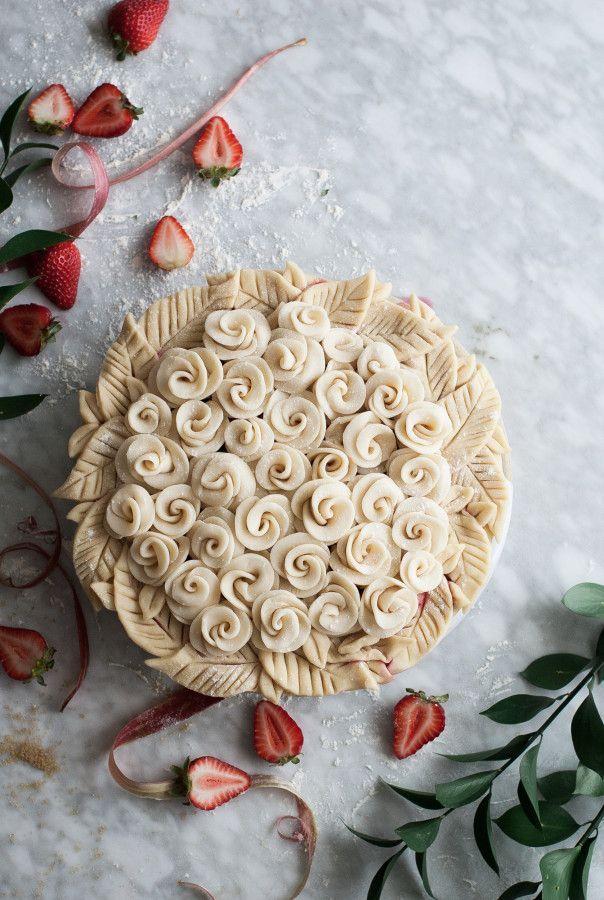 Rosy Rhubarb & Strawberry Pie - The Kitchen McCabe