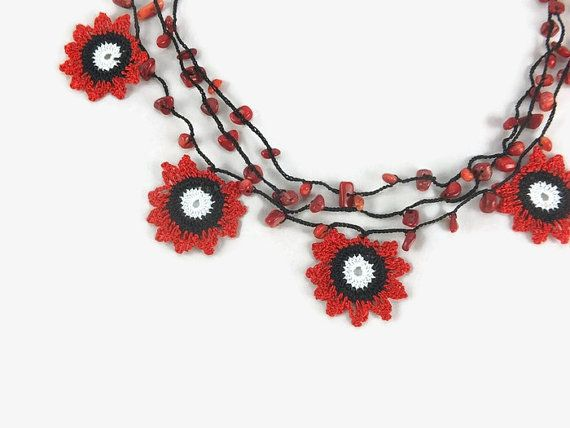 Crochet Necklace Three Strand Turkish Oya Crochet Lace Flower Red and black Boho Summer Choker Necklace with stone beads - Knitted Statement