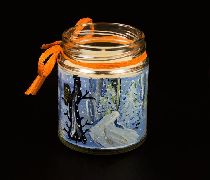 Lumanare borcan peisaj de iarna