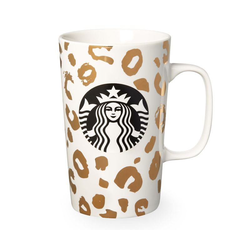 A ceramic coffee mug with shiny leopard pattern design, part of the Starbucks Dot Collection.