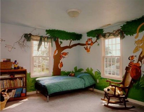 Nursery idea tree green animals book Chair bed plants