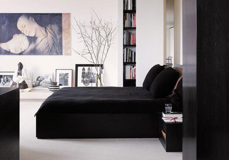Black and white zen bedroom
