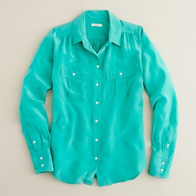 minty in silkTall Boots, J Crew, Pretty Colors, Blythe Blouses, Turquois Shirts, Black Legs, Silk Blouses, Jcrew, Black Pants