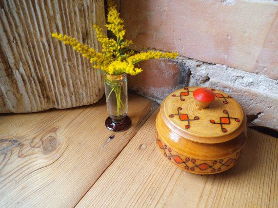 Round Wooden Box with Lid Russian burned by VintageVoyageLV