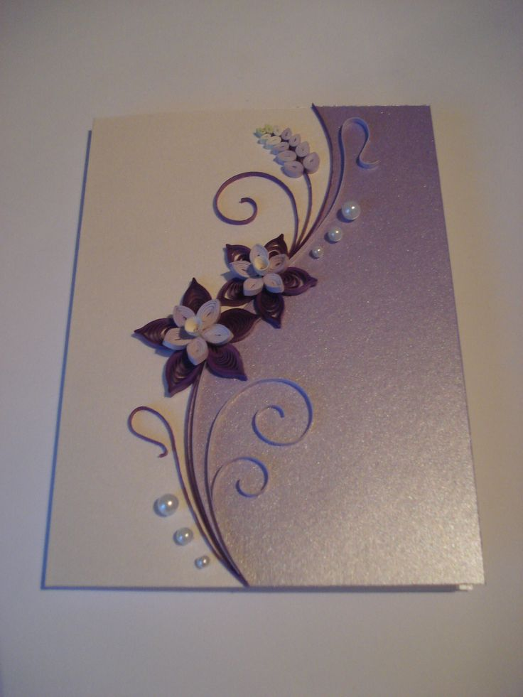Quilled Paper Handmade Greeting Card with Flowers in Lilac by TipTopArtShop