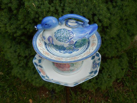 Bird Feeder, Repurposed Garden Art, Teapot Birdfeeder, Asian Theme, Garden Whimsy, Teapot Décor, Garden Totem – Peking Garden