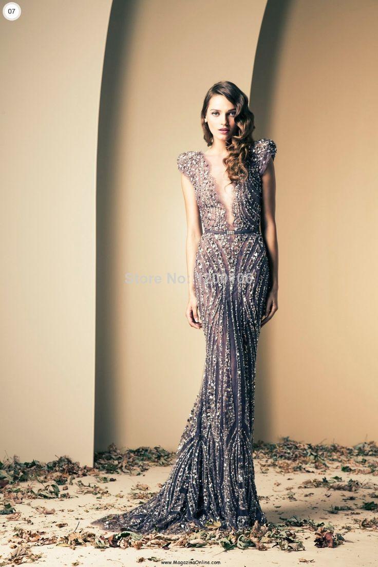 Vintage Cap Sleevs Vestidos De Fiesta Longo Deep V-Neck Illusion Beads/Sequins Sliver Mermaid Evening Dresses 2014 Bling Bling US $339.00