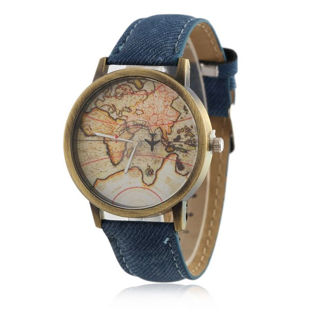 Cowboy strap Map Watch By Plane Watches Women Men Denim Fabric Quartz Watch 7 color sports watches free shipping //Price: $4.7 & FREE Shipping //