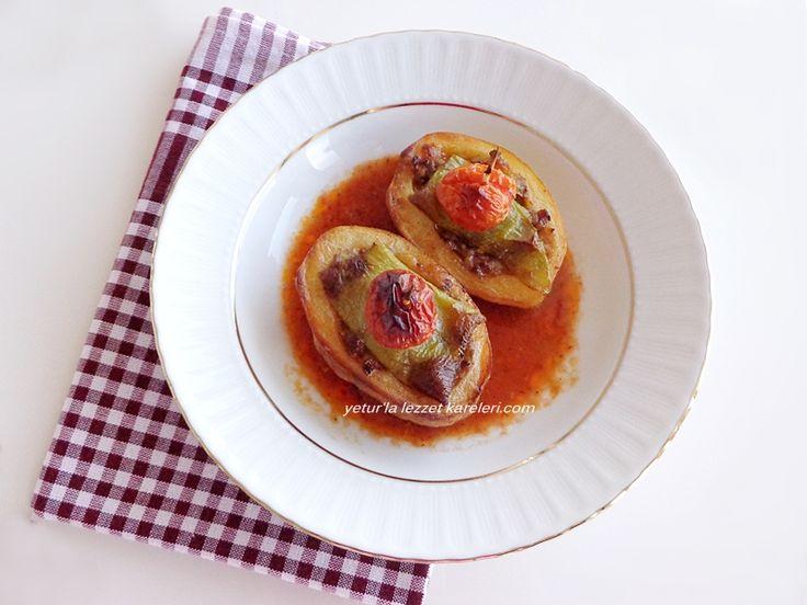 malzemler:  4 adet oval patates içlerini oyup bol yağda kızartıyoruz.     iç harcı:   1 kase orta yağlı dana döş kıyma  1 ...