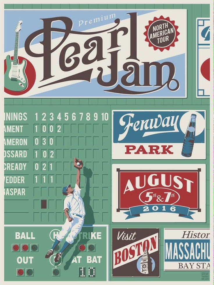 Pearl Jam, Fenway Park, Boston 2016 - Steve Thomas poster
