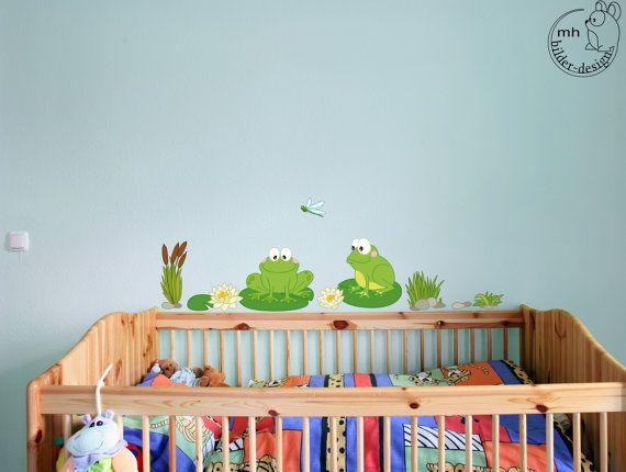 Beautiful Wandtattoo Teich Frosch aus Stoffserie f r Kinderzimmer babyzimmer Kinder Kinderdeko Wanddeko Wandsticker Wandaufkleber