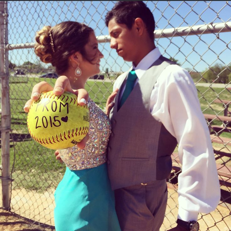 Baseball softball couple prom pictures