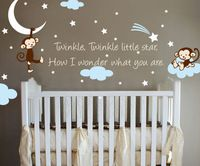 Twinkle Twinkle Monkey wall sticker. Available now at www.theprettycollection.co.za