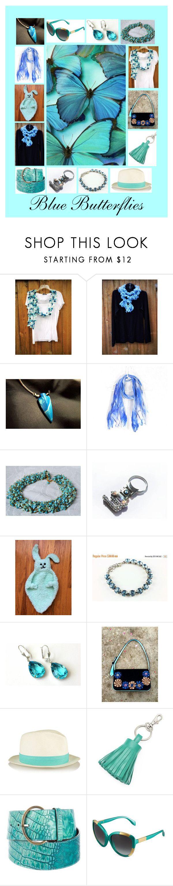 """Blue Butterflies: Winter Fashion Accessories"" by paulinemcewen on Polyvore featuring BMW, ILI, Oscar de la Renta and Alexander McQueen"