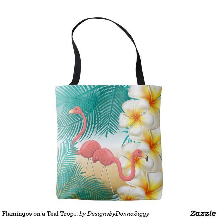 Flamingos on a Teal Tropical Beach Design