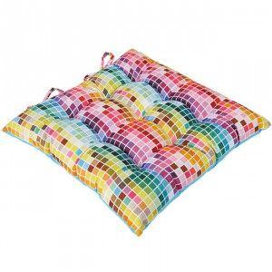 Galette de chaise carreaux multicolores - Textile déco - Linge de maison | GiFi