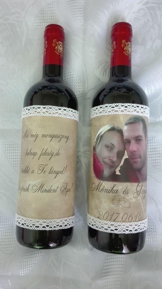 Egyedi címkés bor szülőköszöntéshez, vagy köszönetajándék.