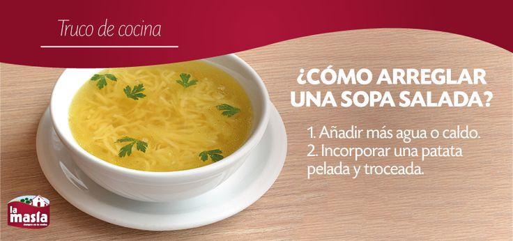 ¿Has preparado #SOPA y te ha quedado salada? No te preocupes. Toma nota de los #trucos que te damos en nuestro blog para disfrutarla como si no hubiera pasado nada. #trucodecocina