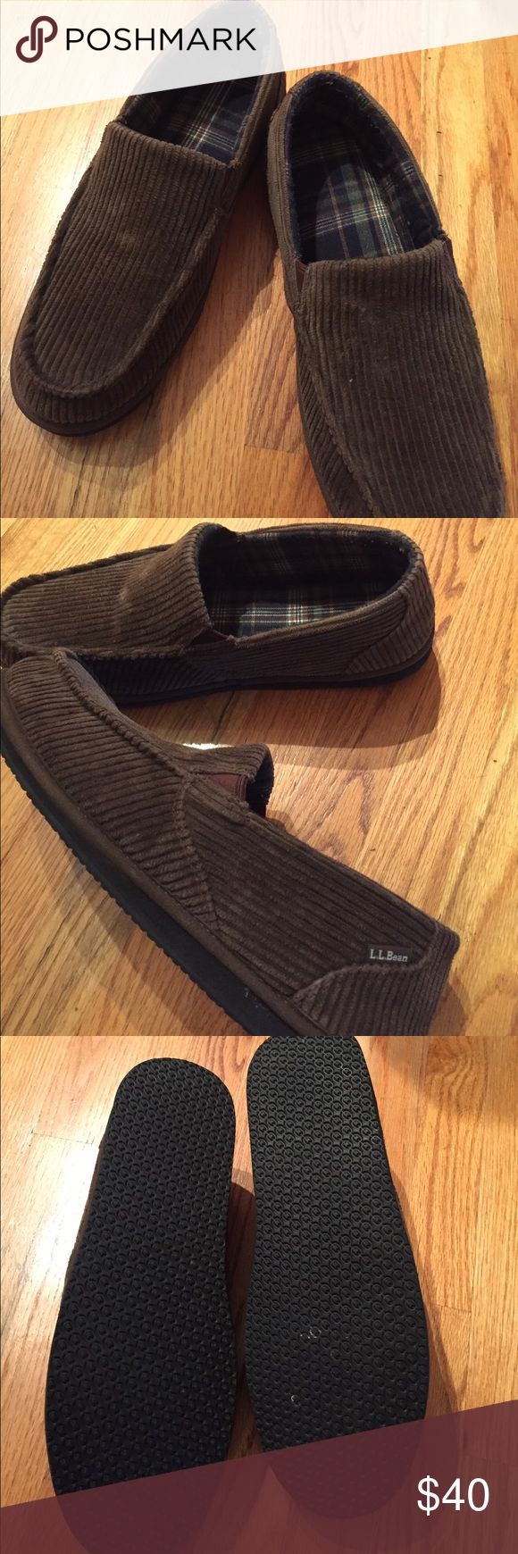 Men's House slippers! Men's brown corduroy, with flannel inside, house slippers! My dad wore these once, inside + changed his mind, lol.. mint condition.. price FIRM! LL Bean Shoes Slippers